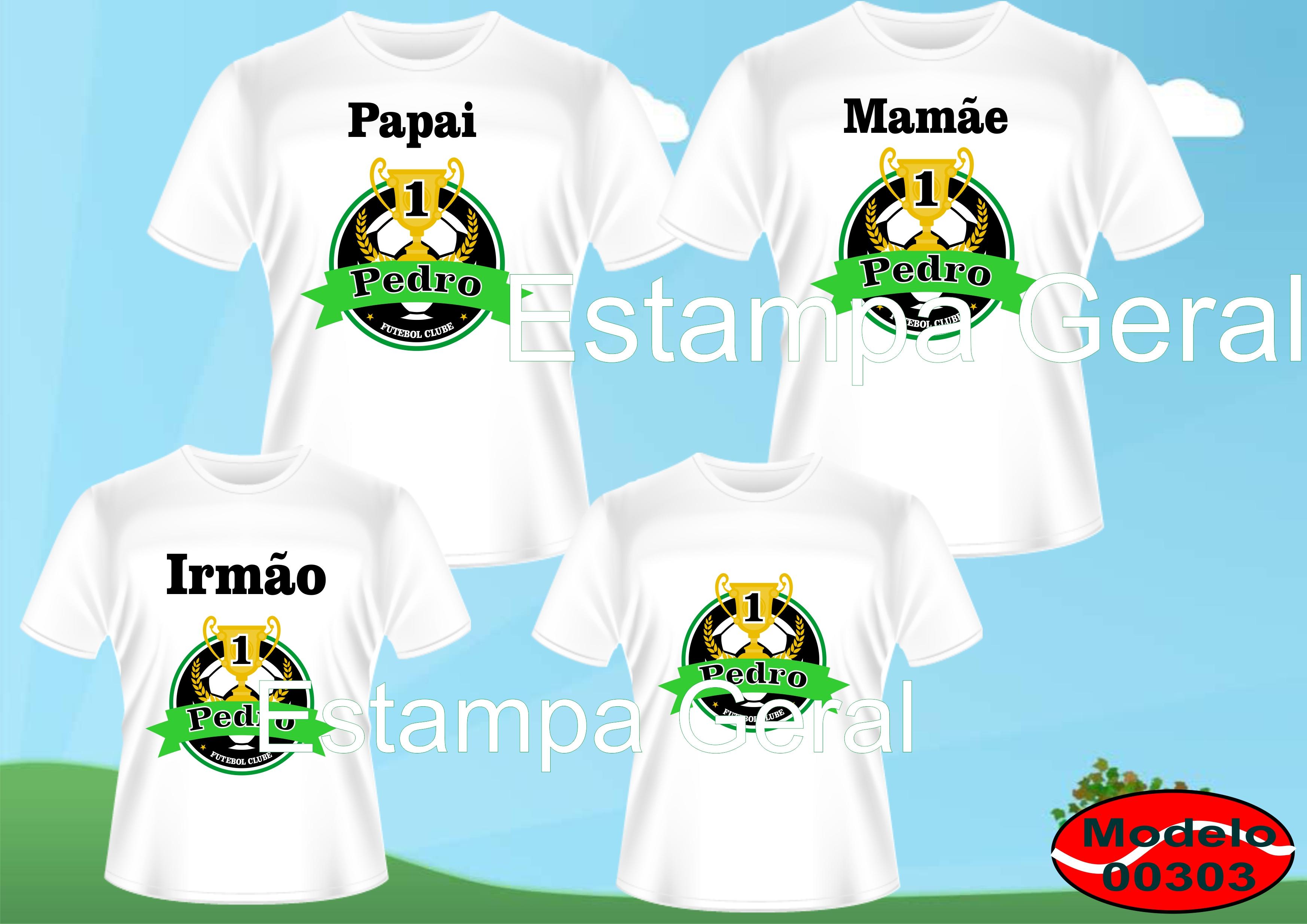c7d1630cd Kit familia Camisetas Futebol c 4 no Elo7