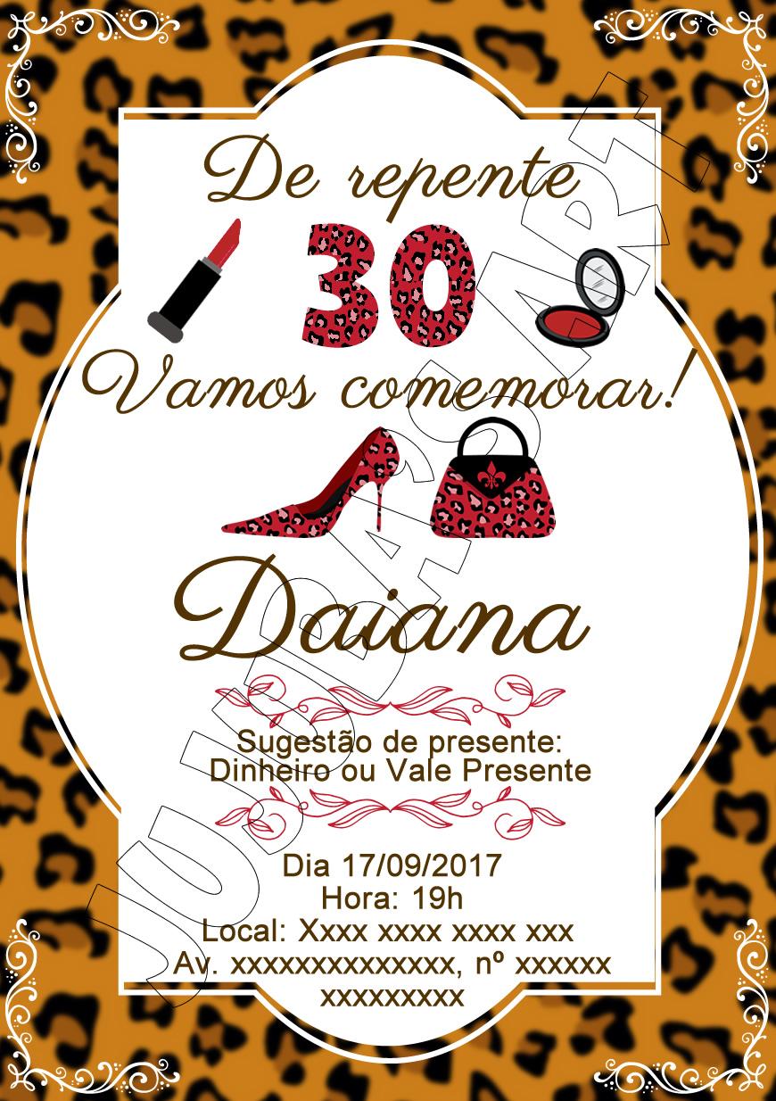 Convite Impresso Aniversario 30 Anos Elo7