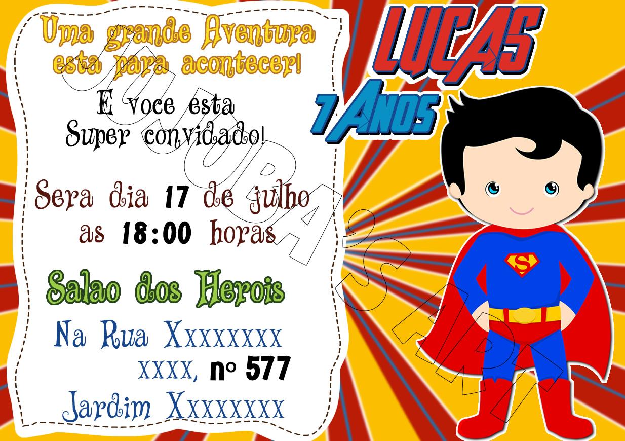 Convite Superman Elo7