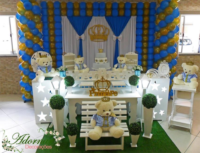 Aluguel Decoração Chá Bebê E Infantil Azul E Dourado Ursos No Elo7