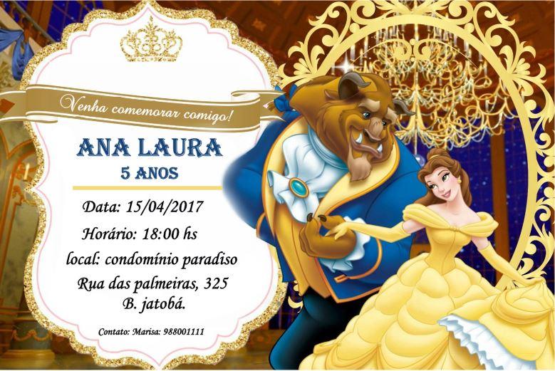 Convite Bela Ea Fera Elo7