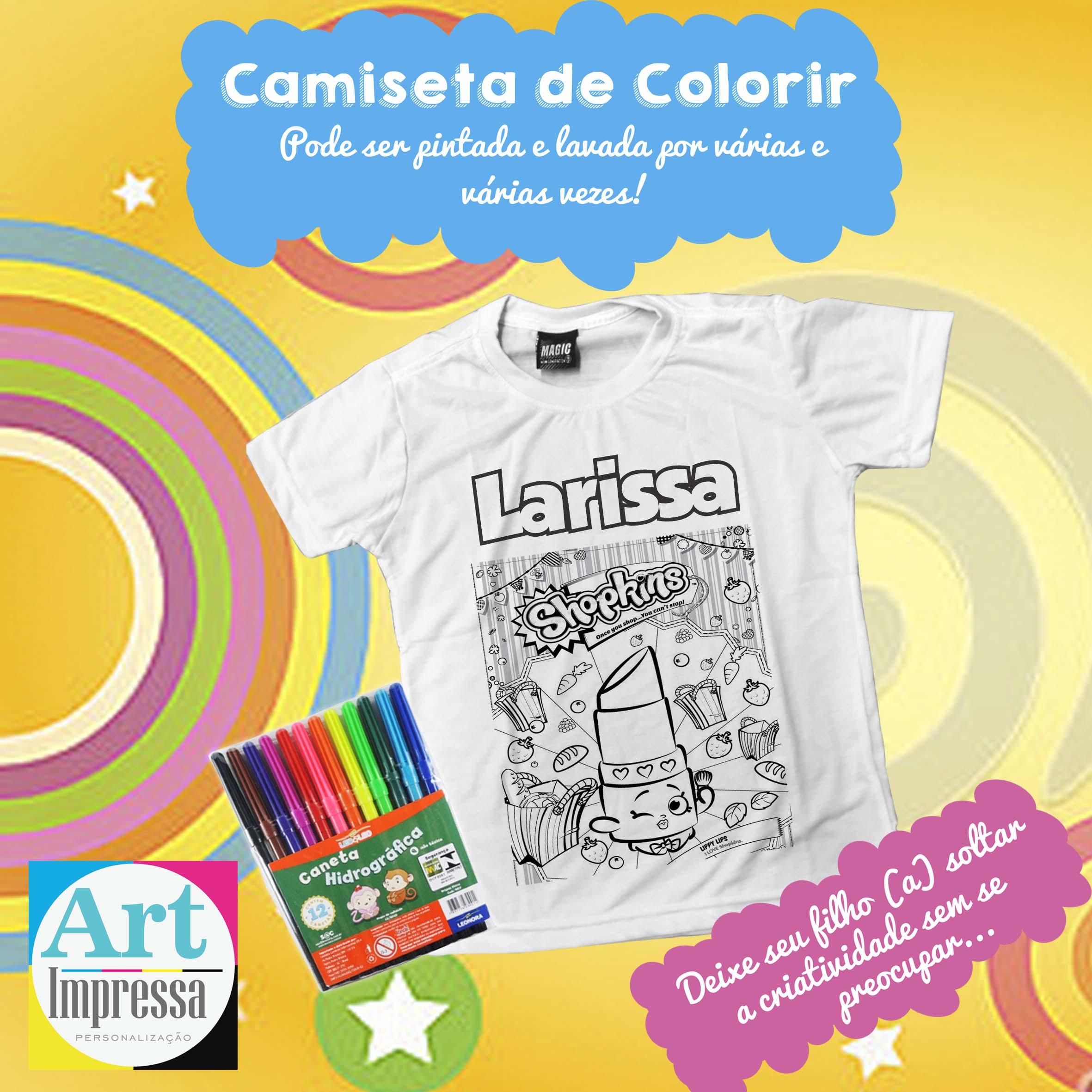 Camiseta De Colorir Shopkins No Elo7 Art Impressa Personalizacao