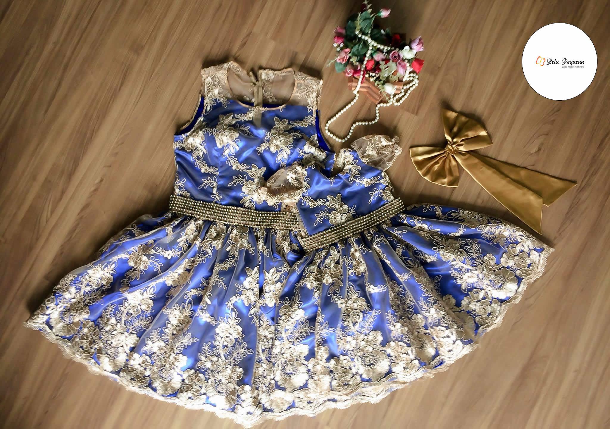 Vestido azul e dourado original