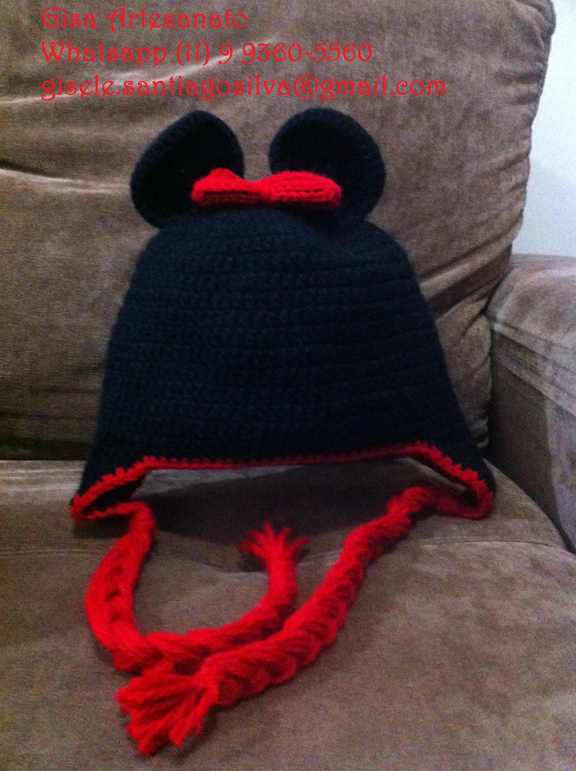 Touca Crochê - Minie com tapa orelha no Elo7  24cbeb0946d