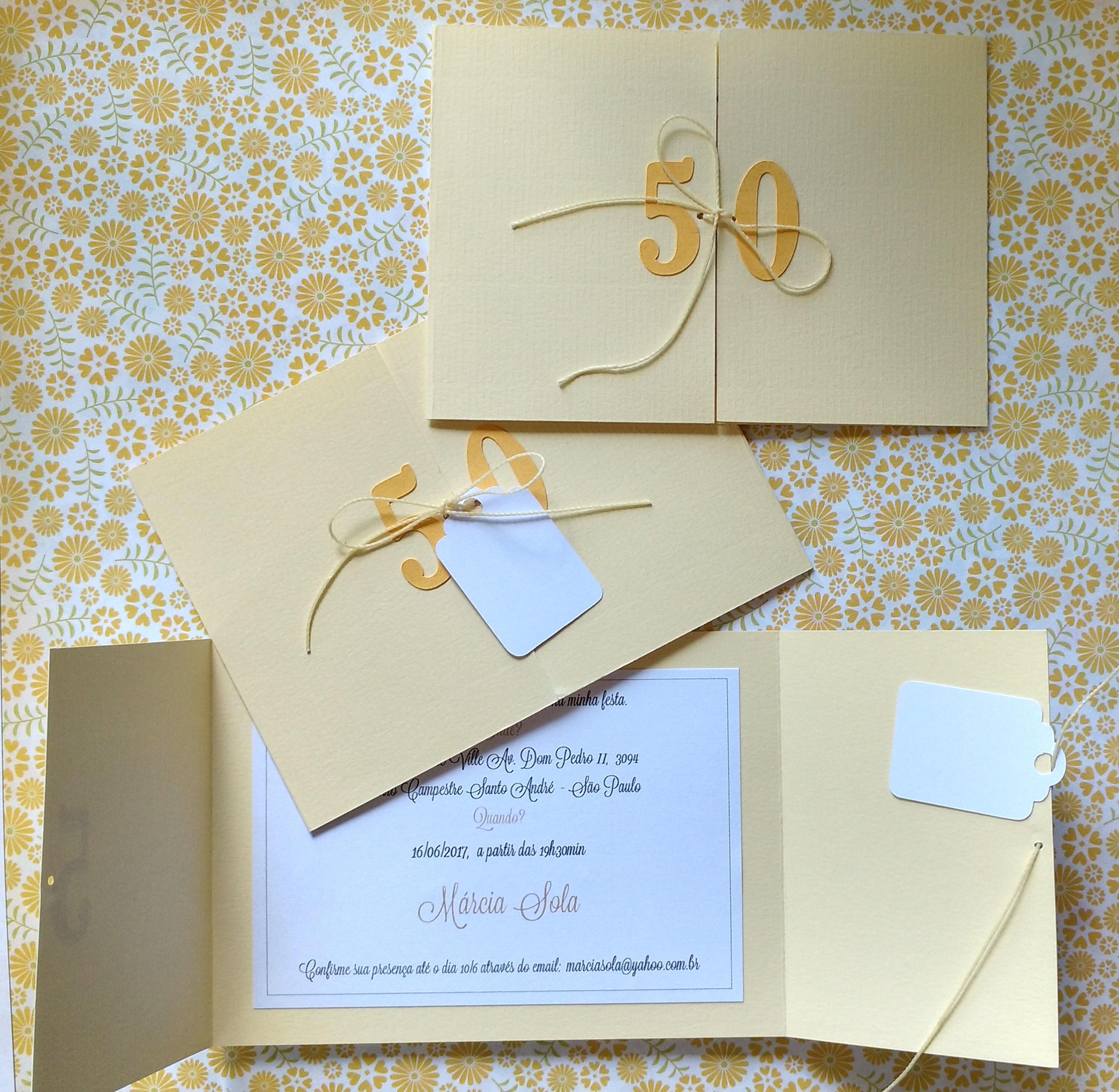 Convite De Aniversario 50 Anos Para Imprimir Elo7