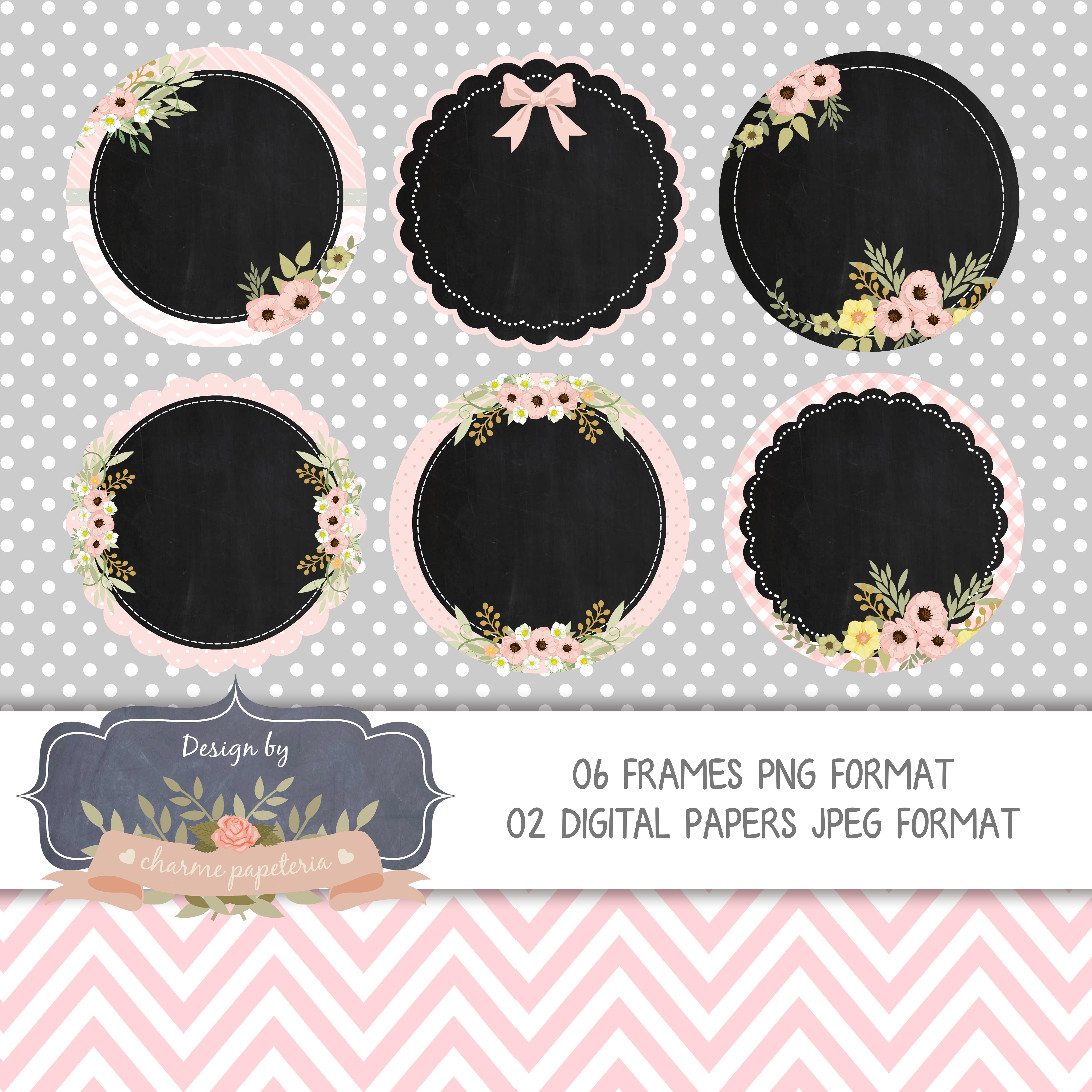 Molduras Chalkboards Floral Rosa E Cinza No Elo7 Charme Papeteria