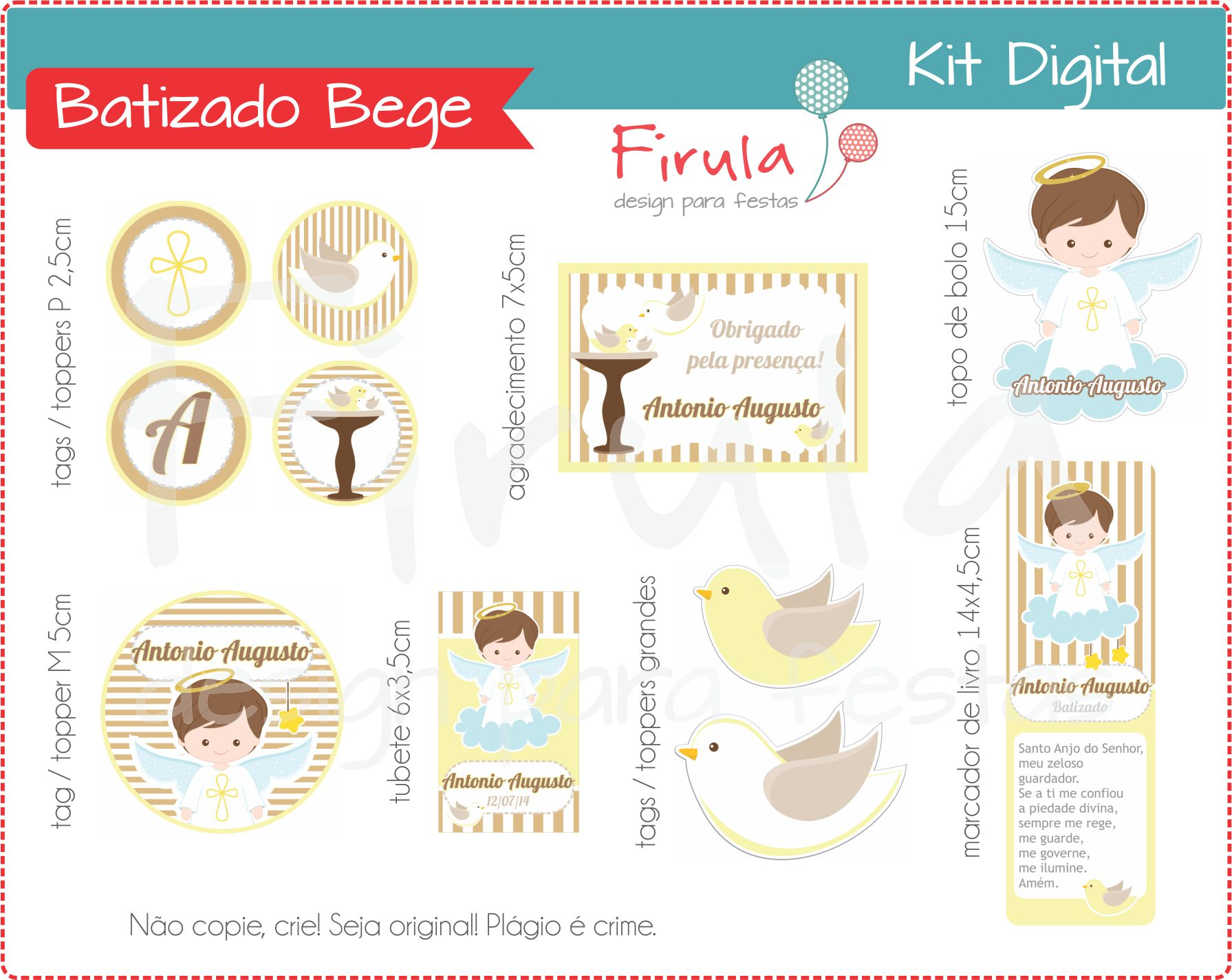 Kit Festa Digital Batizado Bege No Elo7 Firula Festas 9334c4