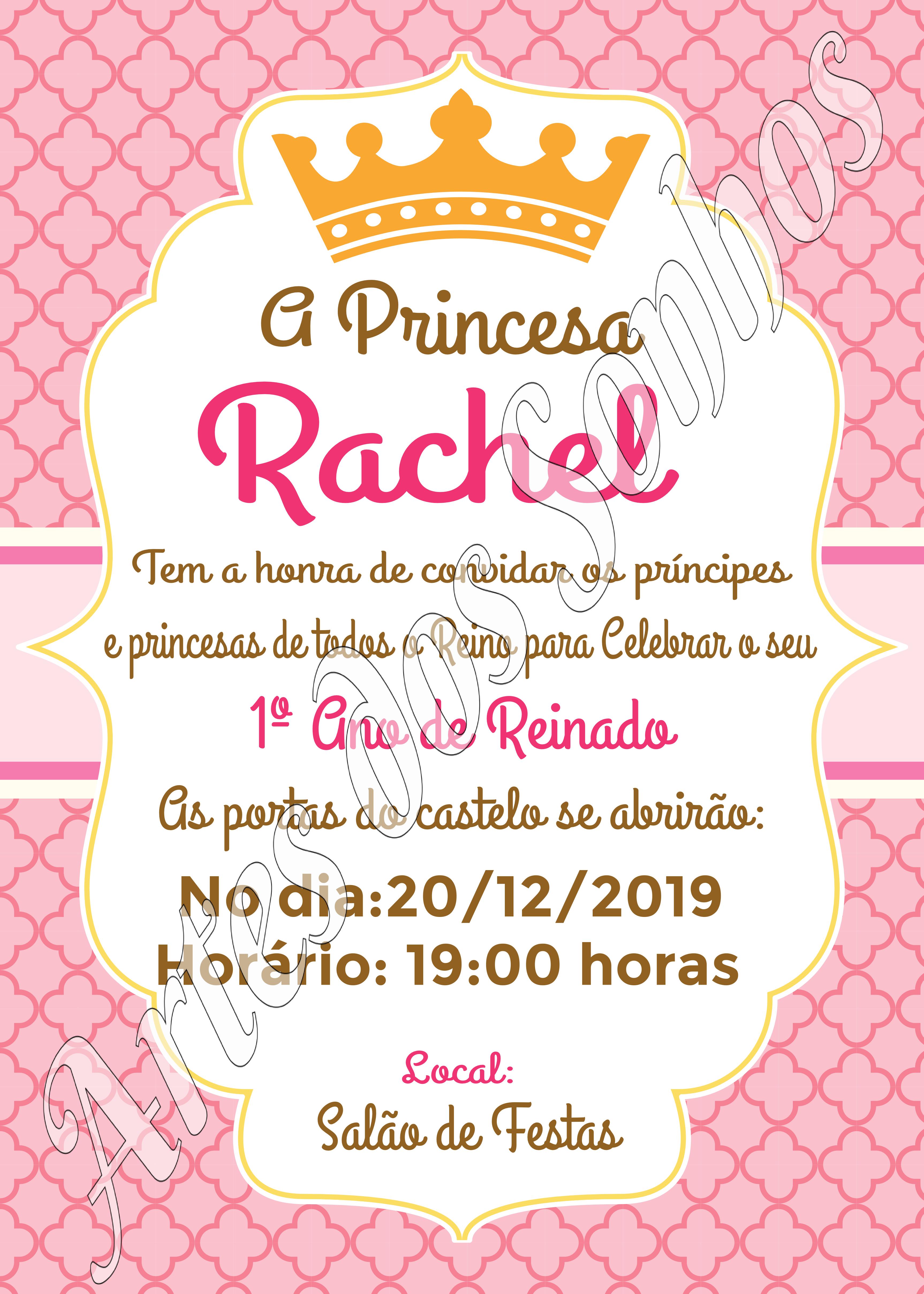 Convite Virtual De Aniversario Princesa Realeza Elo7