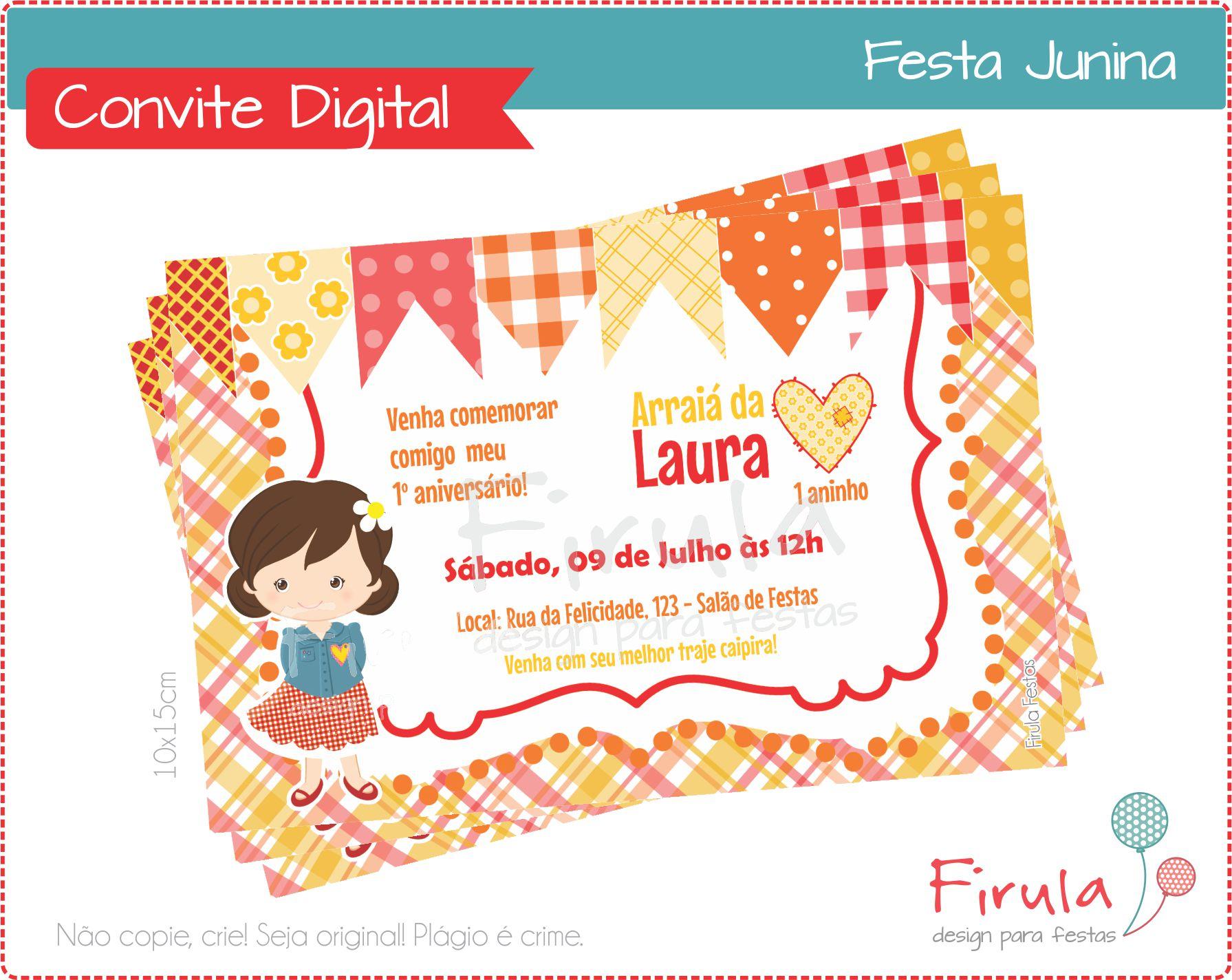 Convite Digital Festa Junina Menina No Elo7 Firula Festas 51f1ee