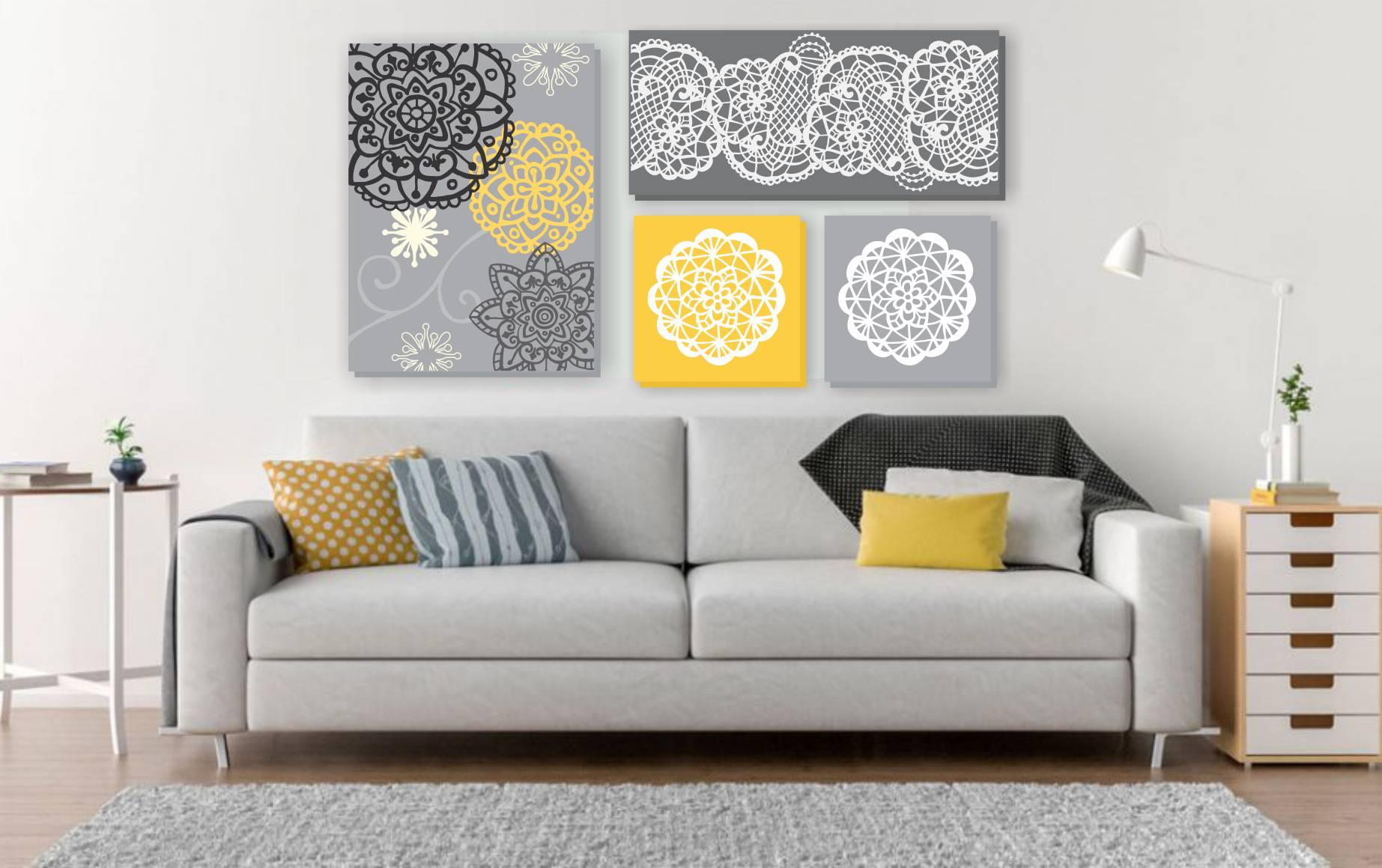 0ac6d4342 Composição de 4 Quadros pintura em tela Cinza amarela no Elo7