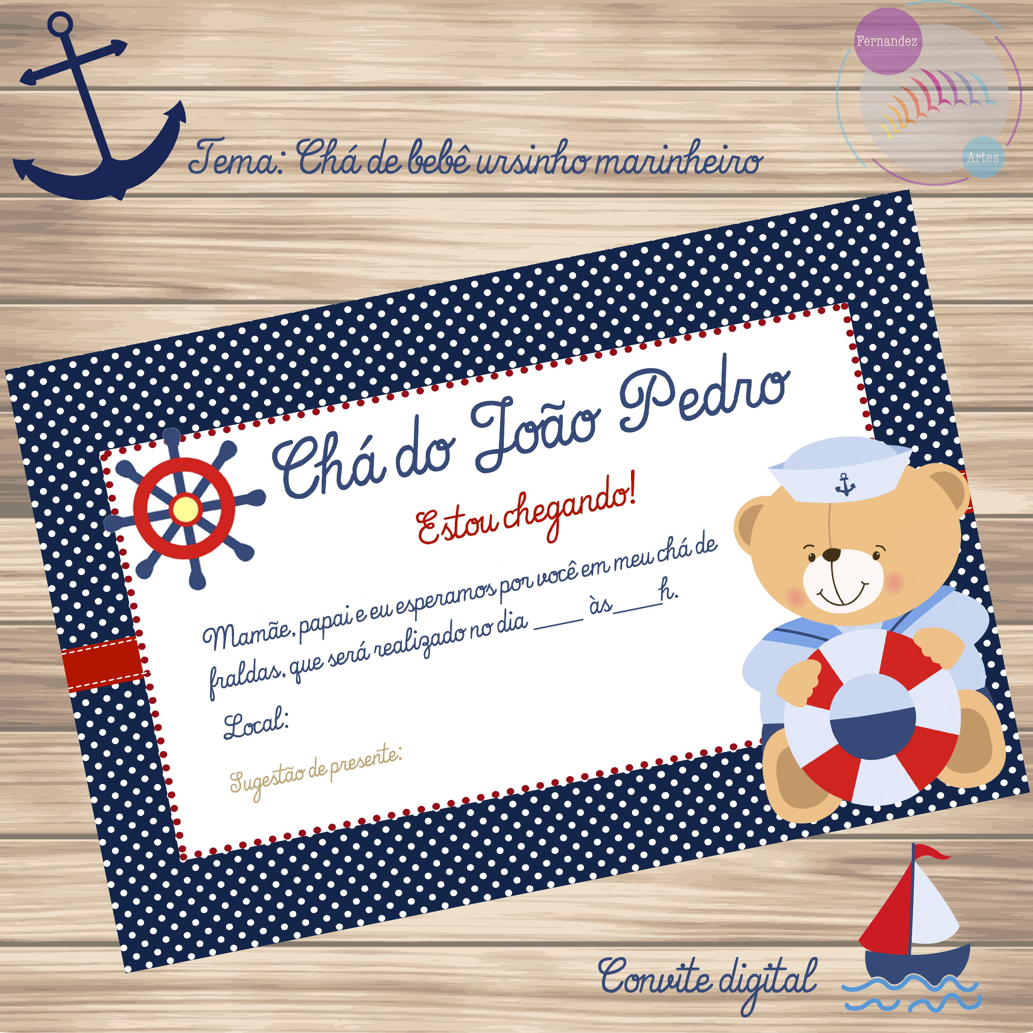 Amado Convite Virtual Chá de Bebê Ursinho Marinheiro   Elo7 RS79