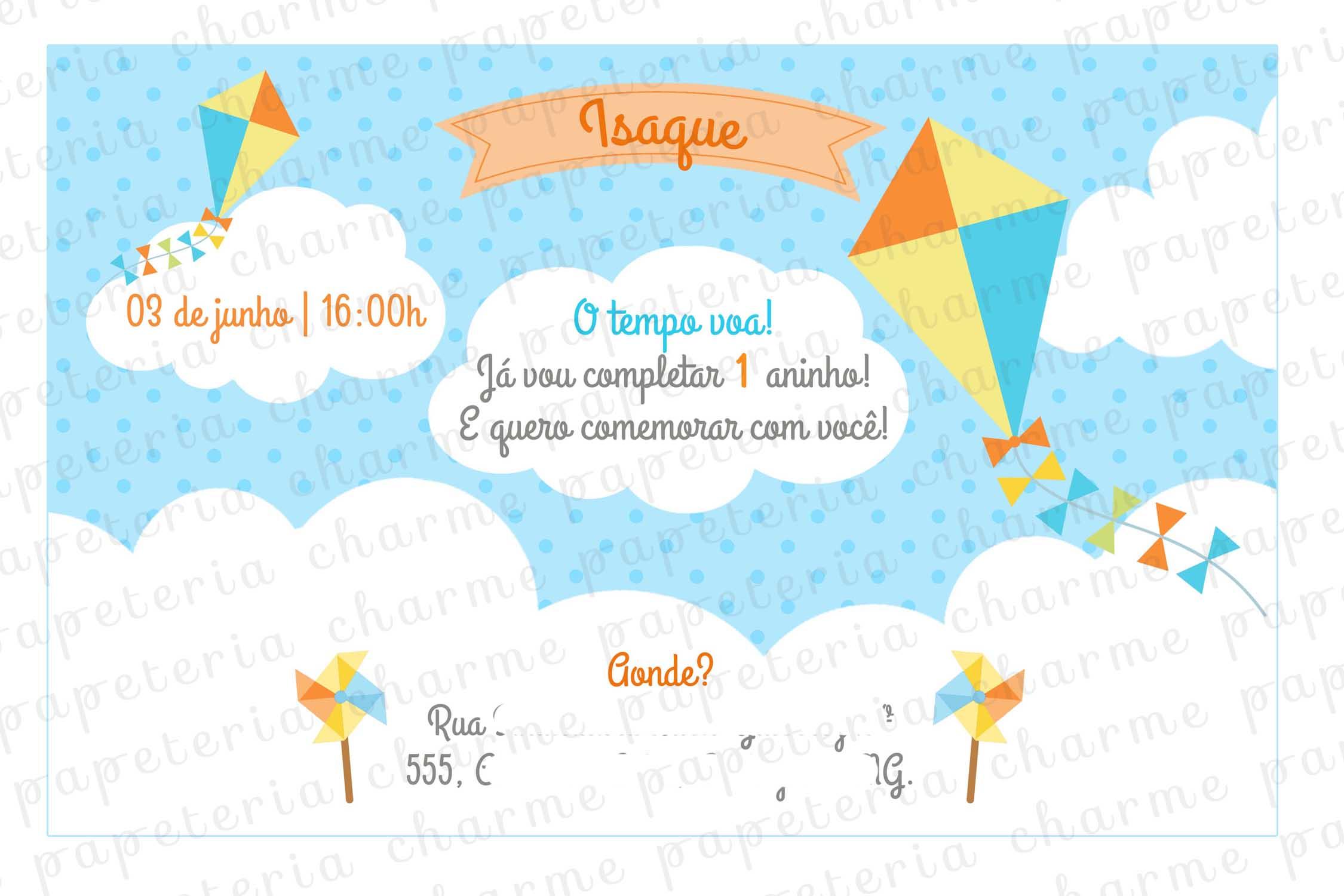 Convite Digital Pipa E Catavento No Elo7 Charme Papeteria 95af32