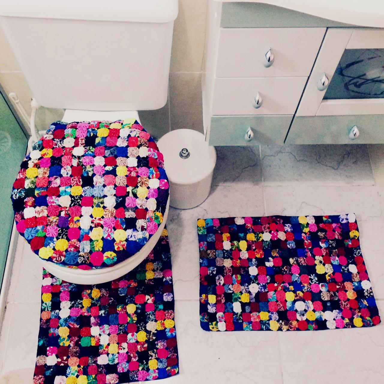 artesanato com fuxico para banheiro