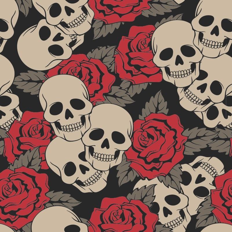 Muitas vezes Papel de Parede Caveira com Rosas | C.M. Decorações | Elo7 OX15