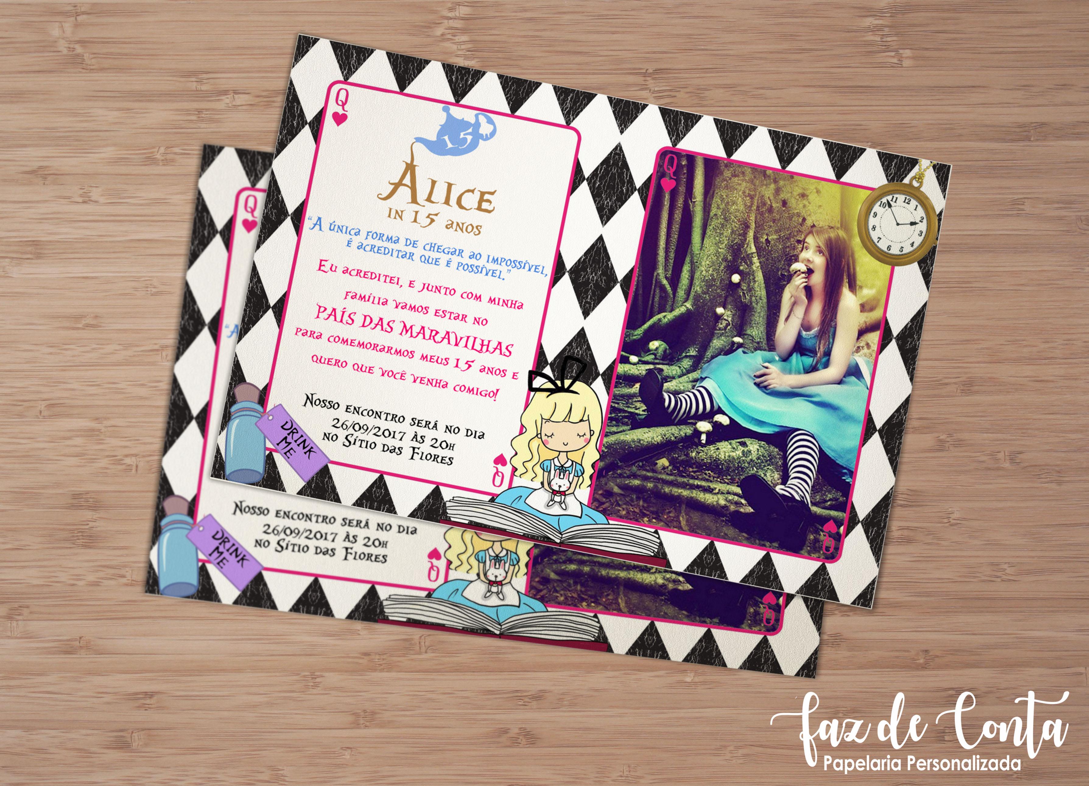 Convite Debutante Alice No Pais Das Maravilhas Rustico Elo7