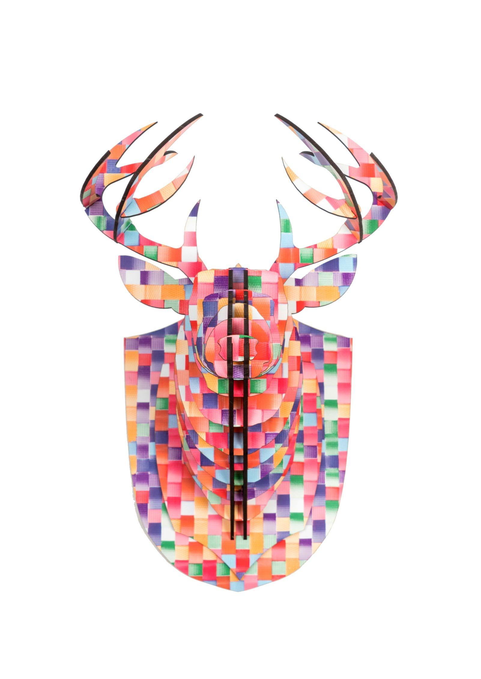 Design Of Cabeça de Alce Colorida, MDF 3mm e preço