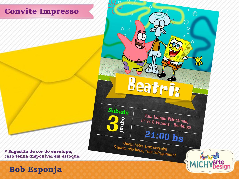 Convites Bob Esponja Elo7
