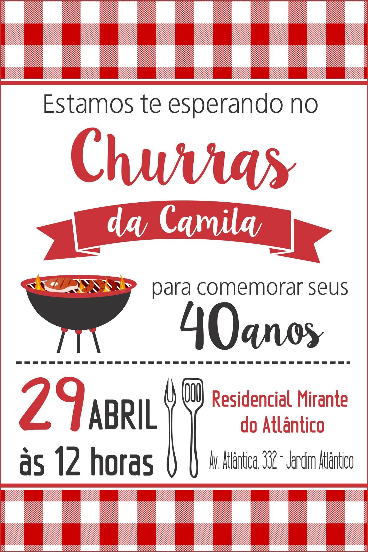 Arte Convite Churrasco Elo7