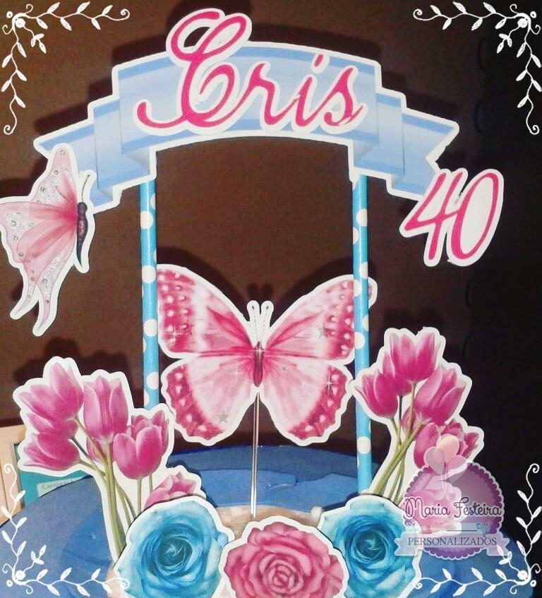 Topper de bolo flores e borboletas elo7 altavistaventures Image collections