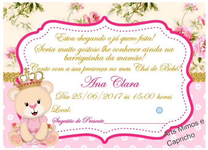 Cha De Bebe Ursinha Princesa Elo7