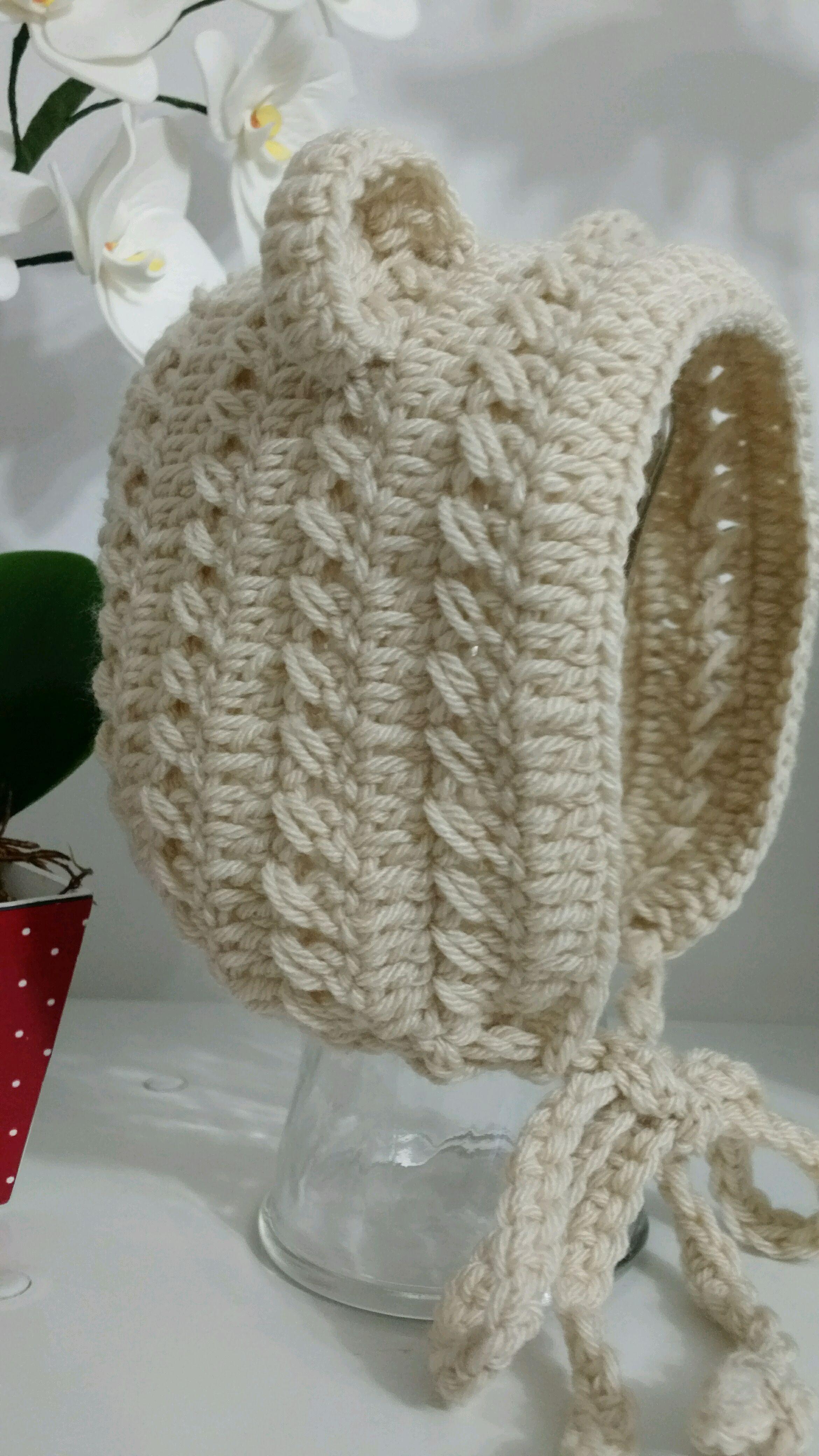 Gorro de La Croche Bebe Aplique Ursinho  fb9975d639d