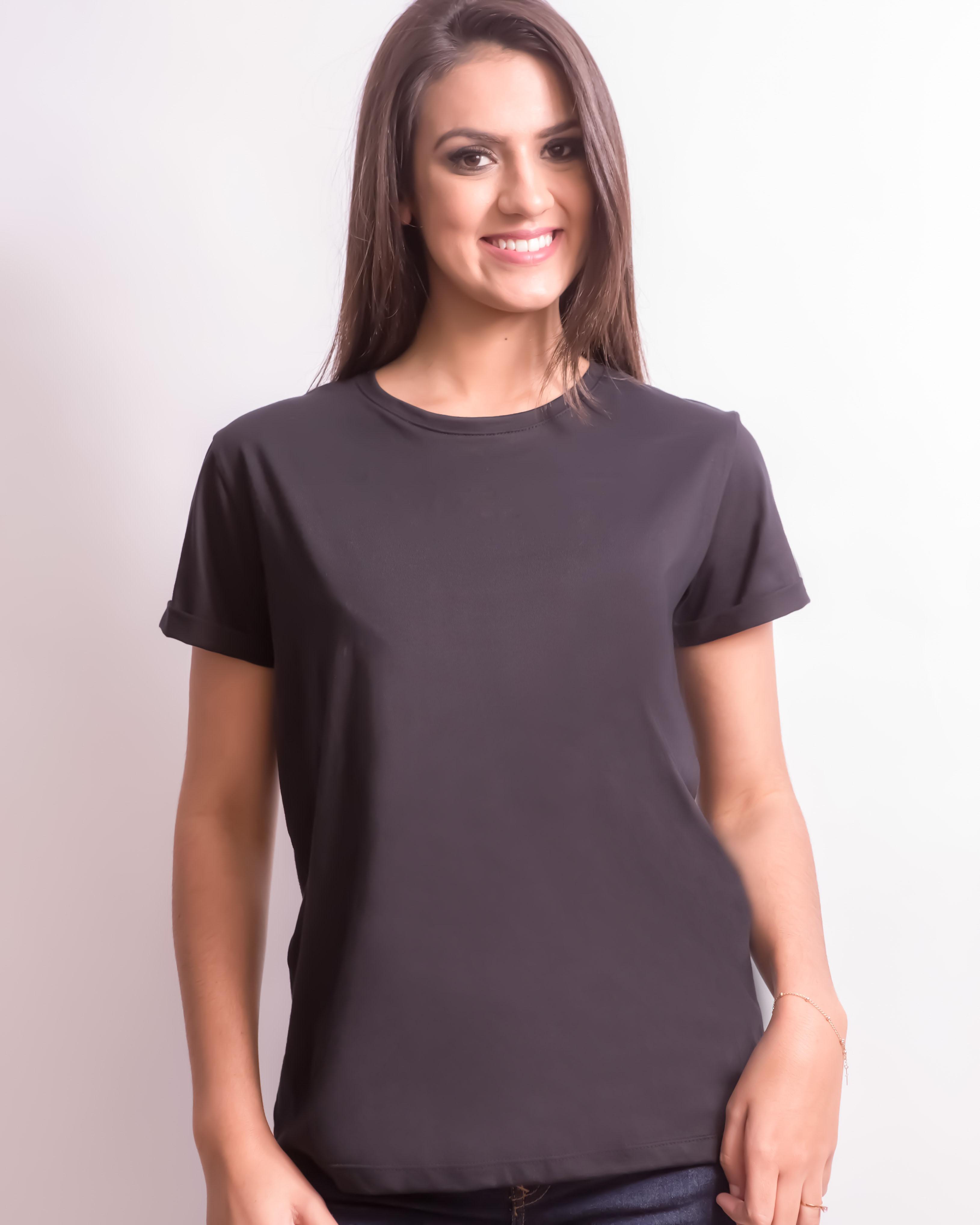 d7f6b01b11 Blusa Camiseta Básica Feminina Preta no Elo7