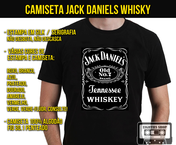 1b52bf436daab Camiseta Jack Daniels Whisky Bandas Rock no Elo7