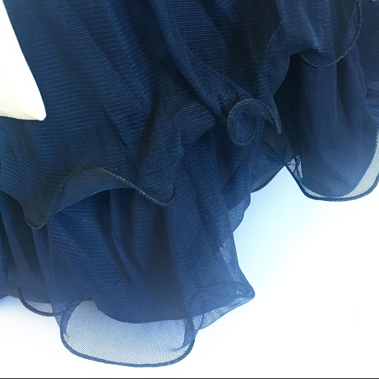 2c92bb63a74 Vestido para Festas de Luxo Azul e Creme no Elo7