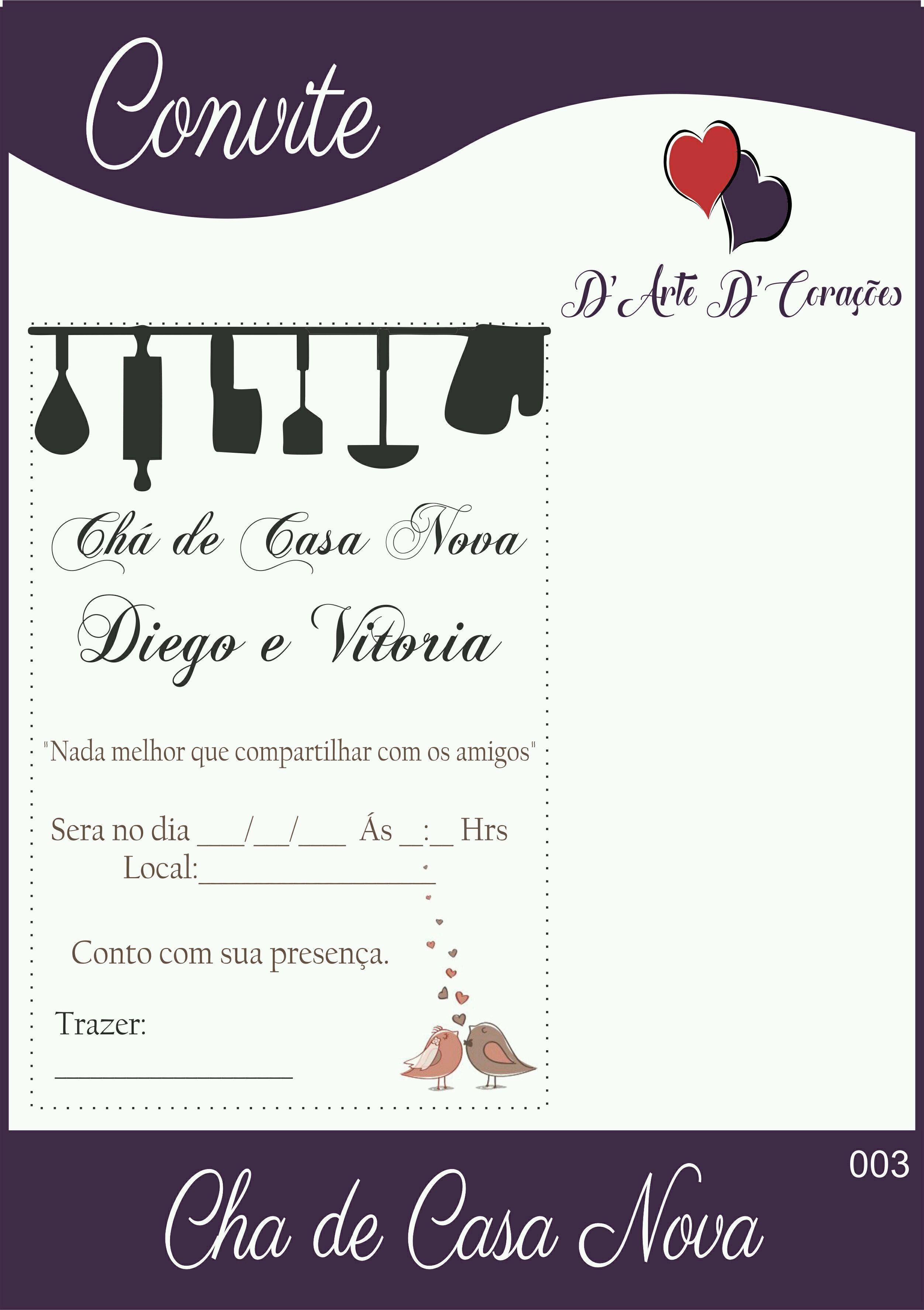 Convites De Chá De Casa Nova Elo7