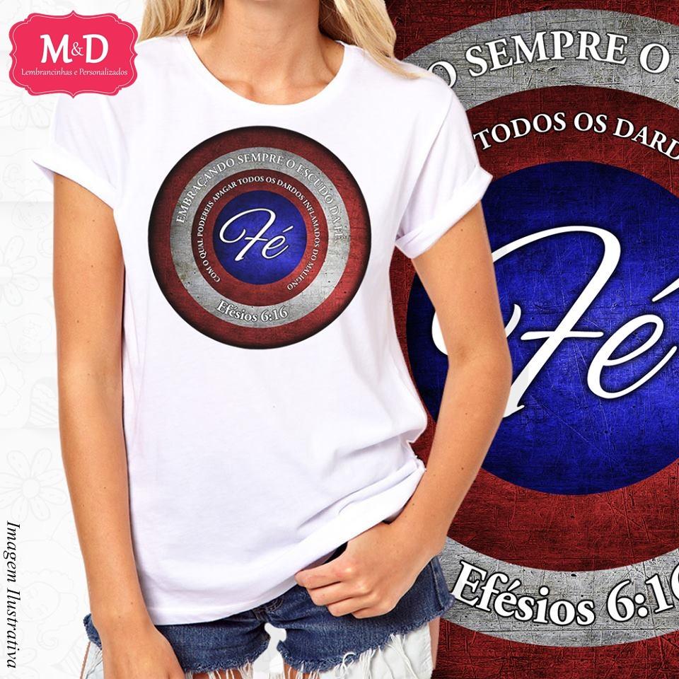 Camiseta Masculina e Blusa Feminina Gospel Escudo da Fe  7aba4bc70486c