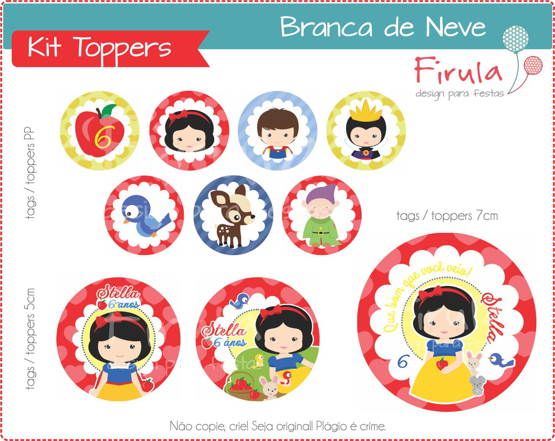 Kit Toppers Tags Branca De Neve Verm No Elo7 Firula Festas