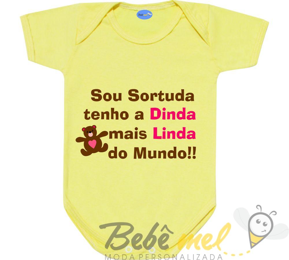 Body Bebê Com Frase Dinda Linda No Elo7 Loja Bebê Mel 9be7f5