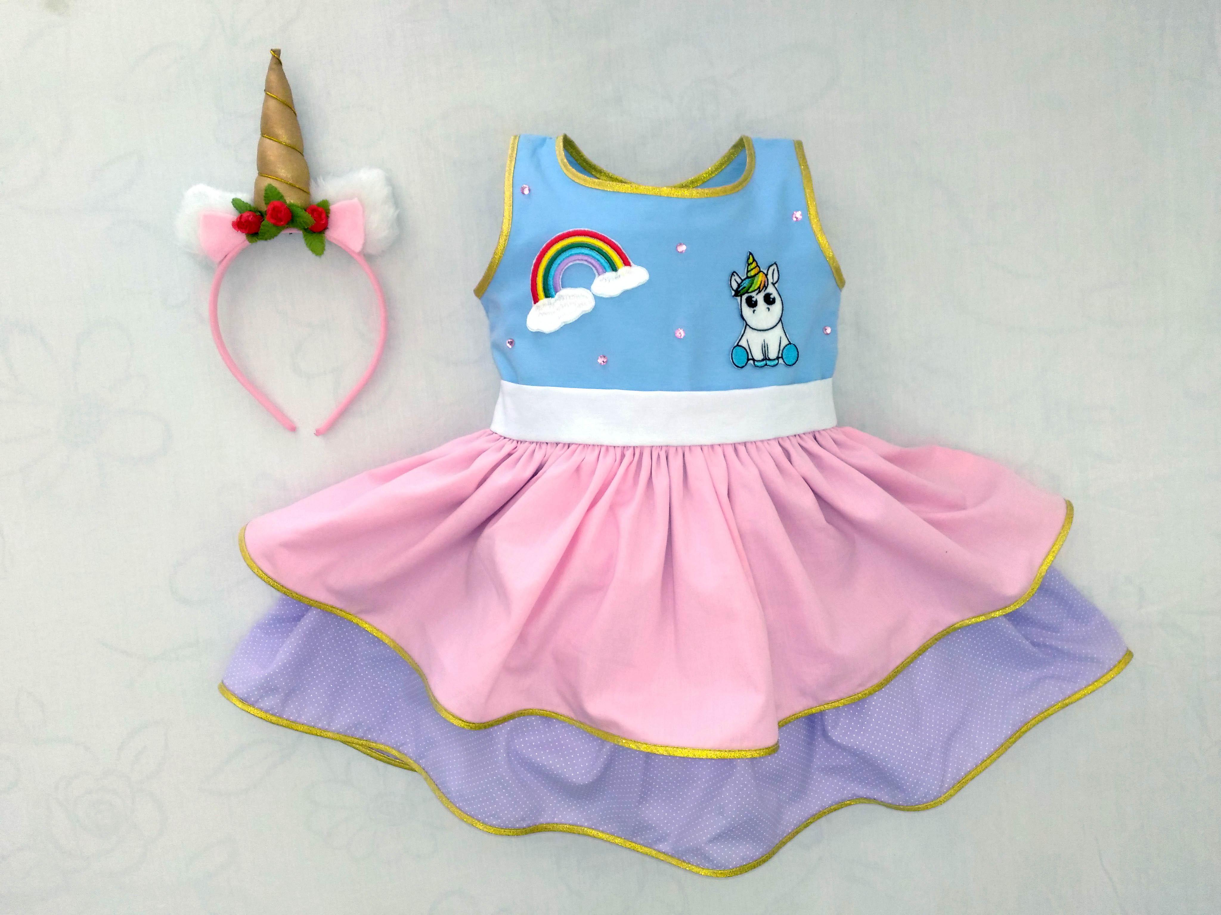 Vestido Fantasia Unicornio Com Tiara No Elo7 Vestidos Da Bela Oficial 9c1a84