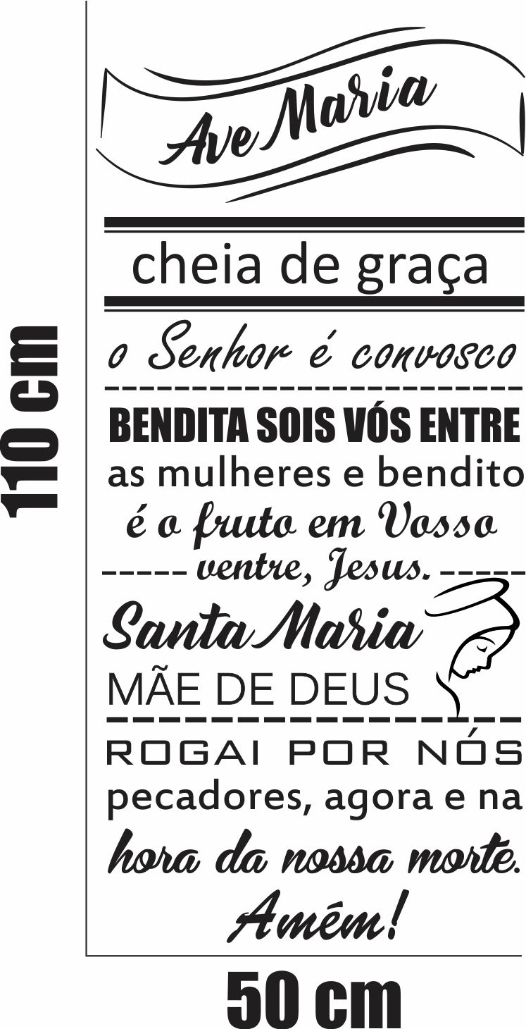 Oração Ave Maria Fundo Branco