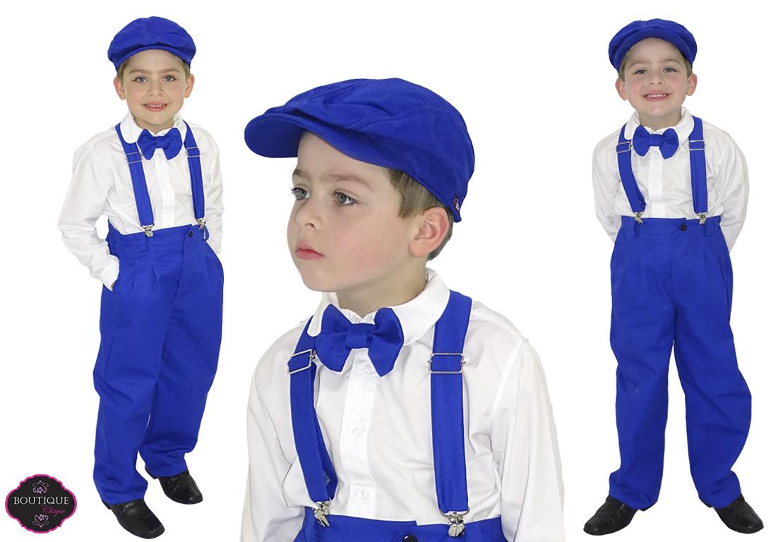 0f921b2d26 Conjunto Pajem Azul Boina e Gravata