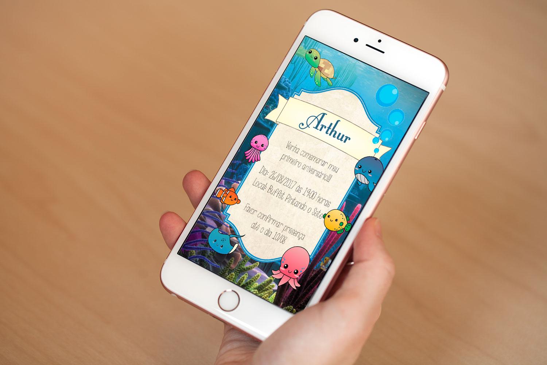 Design Of Convite Digital - Fundo do Mar e preço