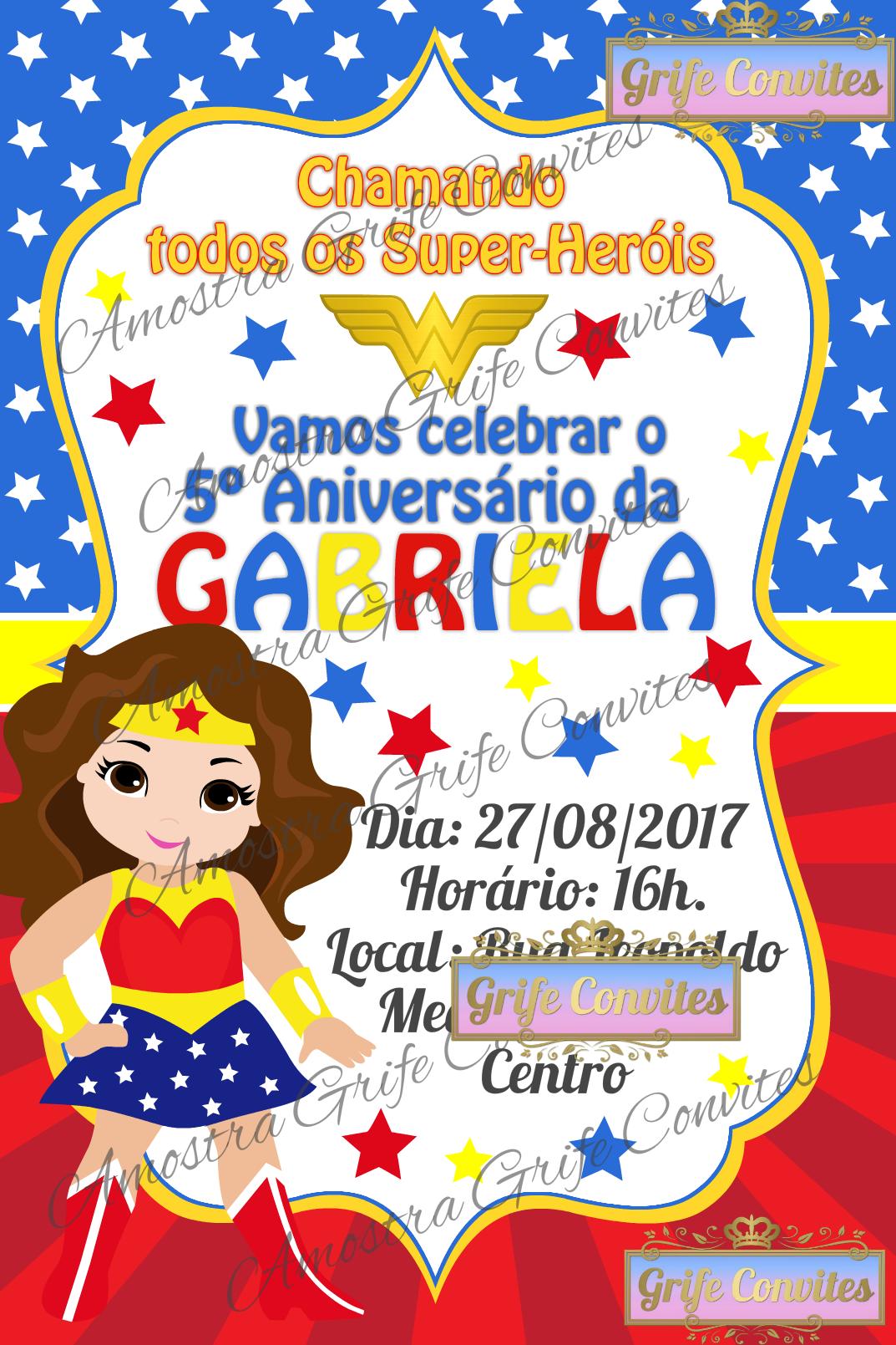 Convite Digital Mulher Maravilha No Elo7 Grife Convites 9df5a1