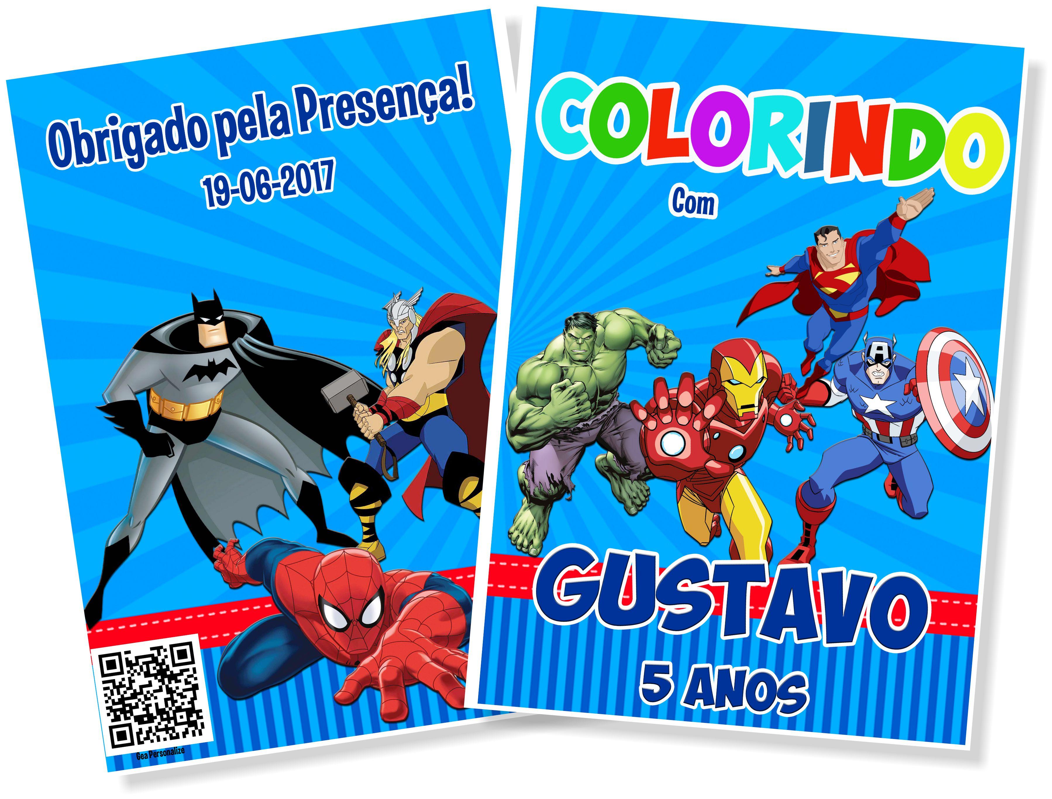 Livro De Colorir 10x15 Super Herois No Elo7 G A Personalize