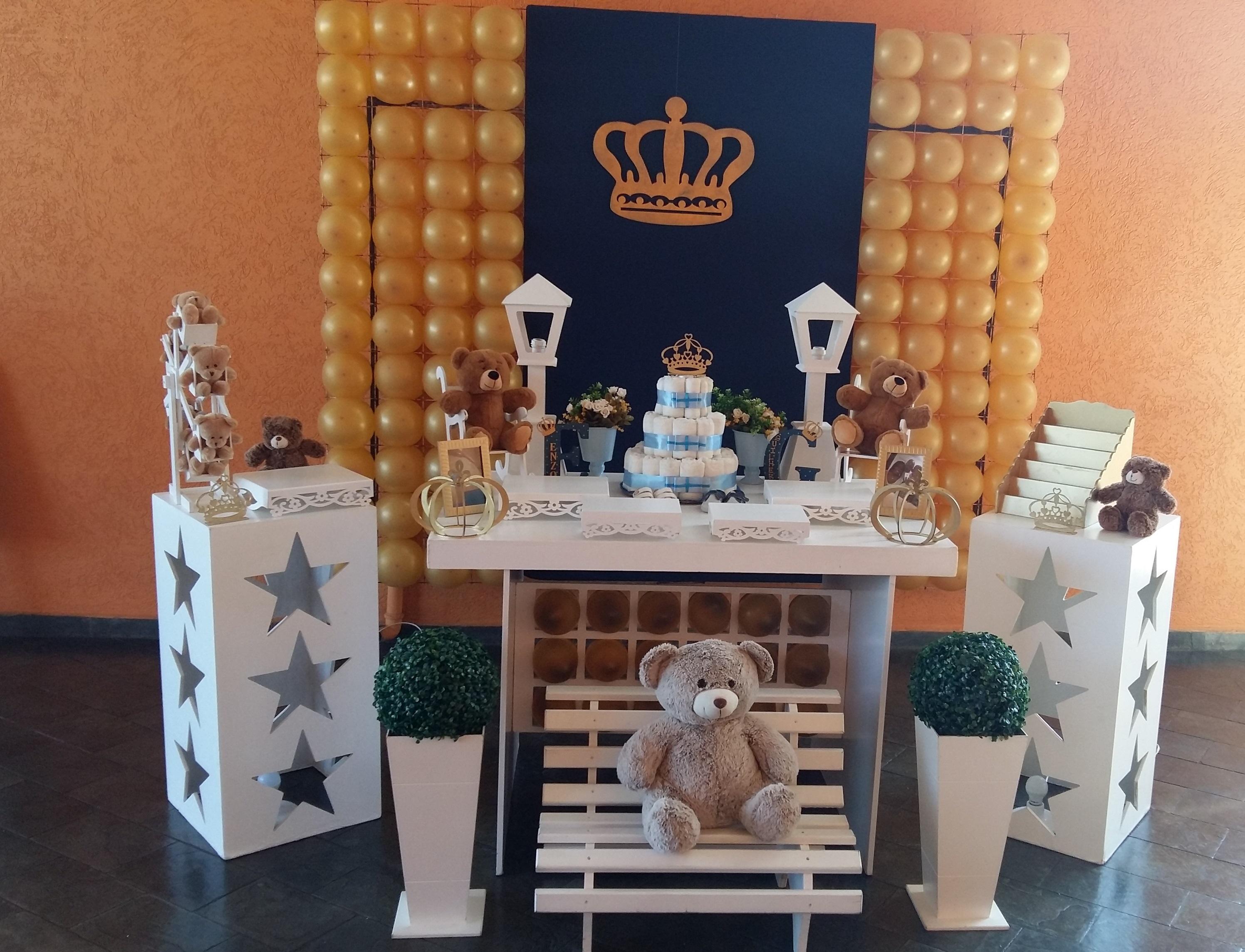 Decoração Chá De Bebê Príncipe Urso Azul E Dourado Elo7