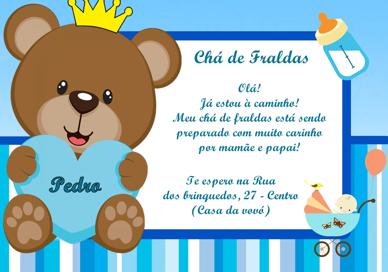 Convite Cha De Fralda Ursinho Elo7