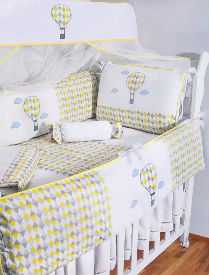 9196d65c30 Kit berço 10 pçs balão cinza e amarelo no Elo7
