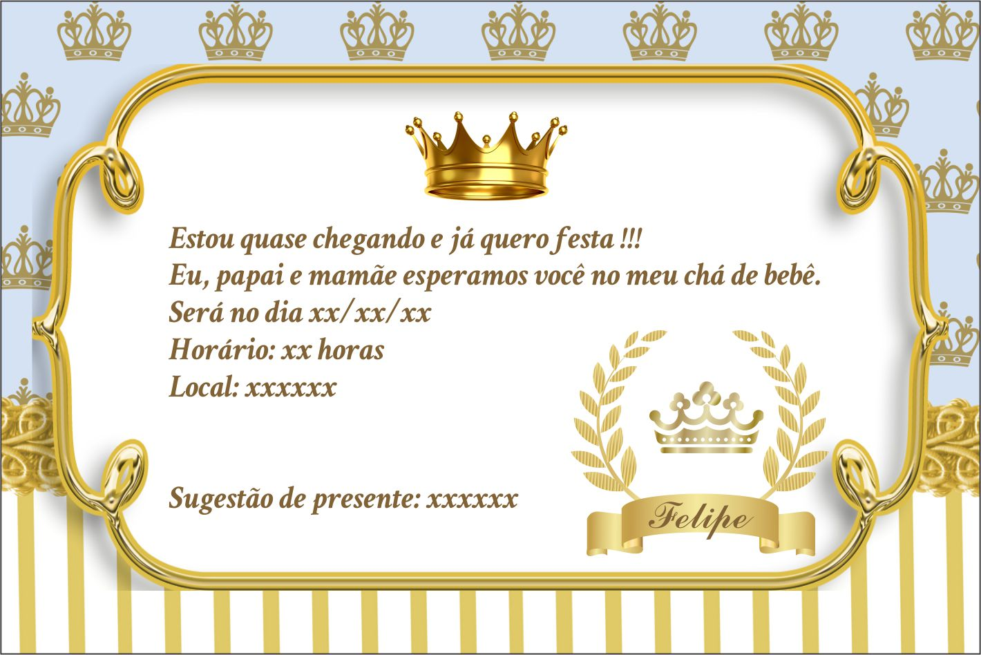 Convite Cha De Fralda Menino Realeza Azul Elo7