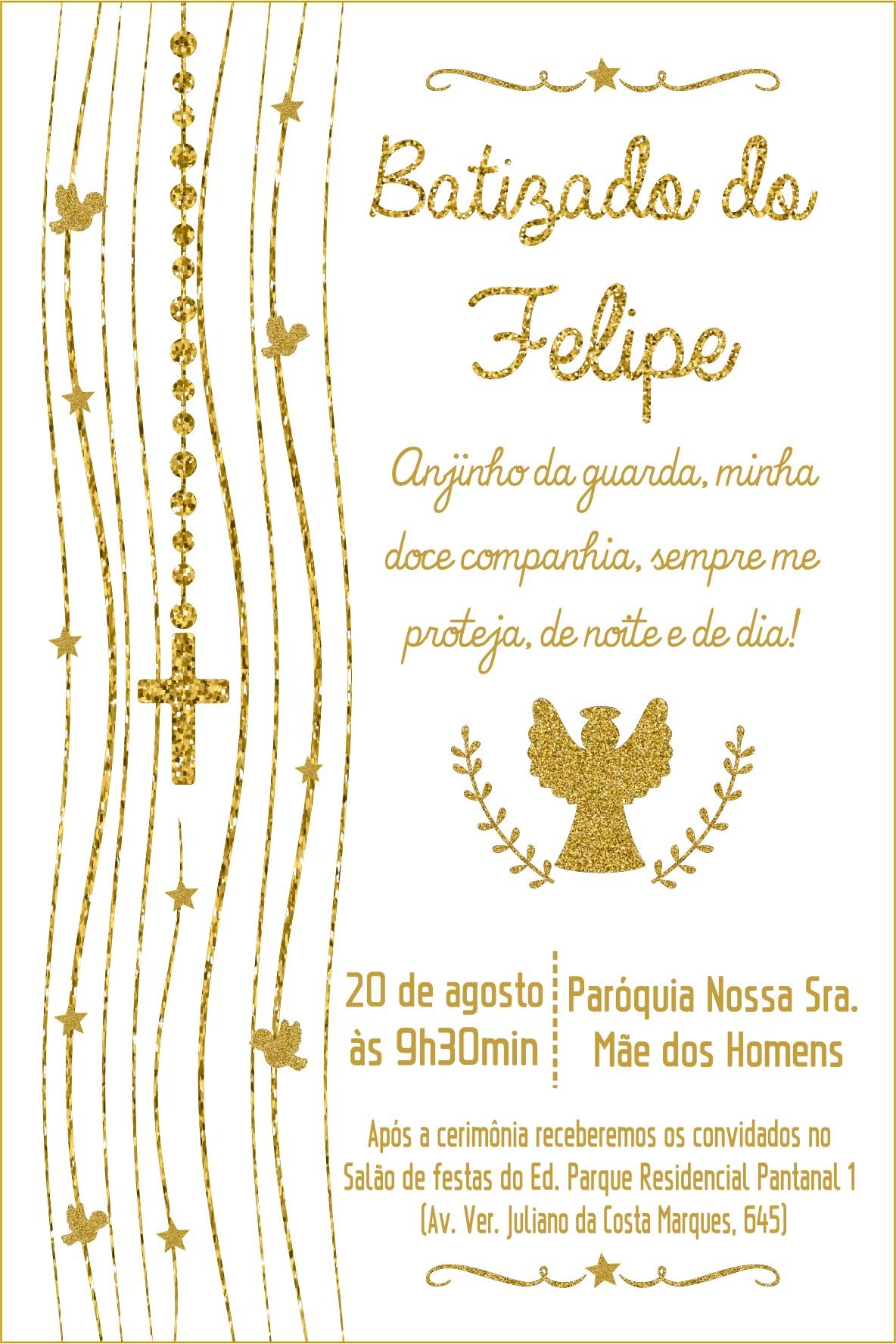 Convite Batismo Digital Branco E Dourado Elo7