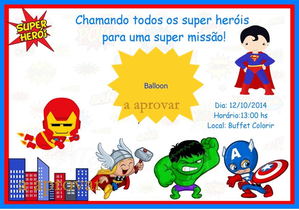 Convite Super Herois Elo7