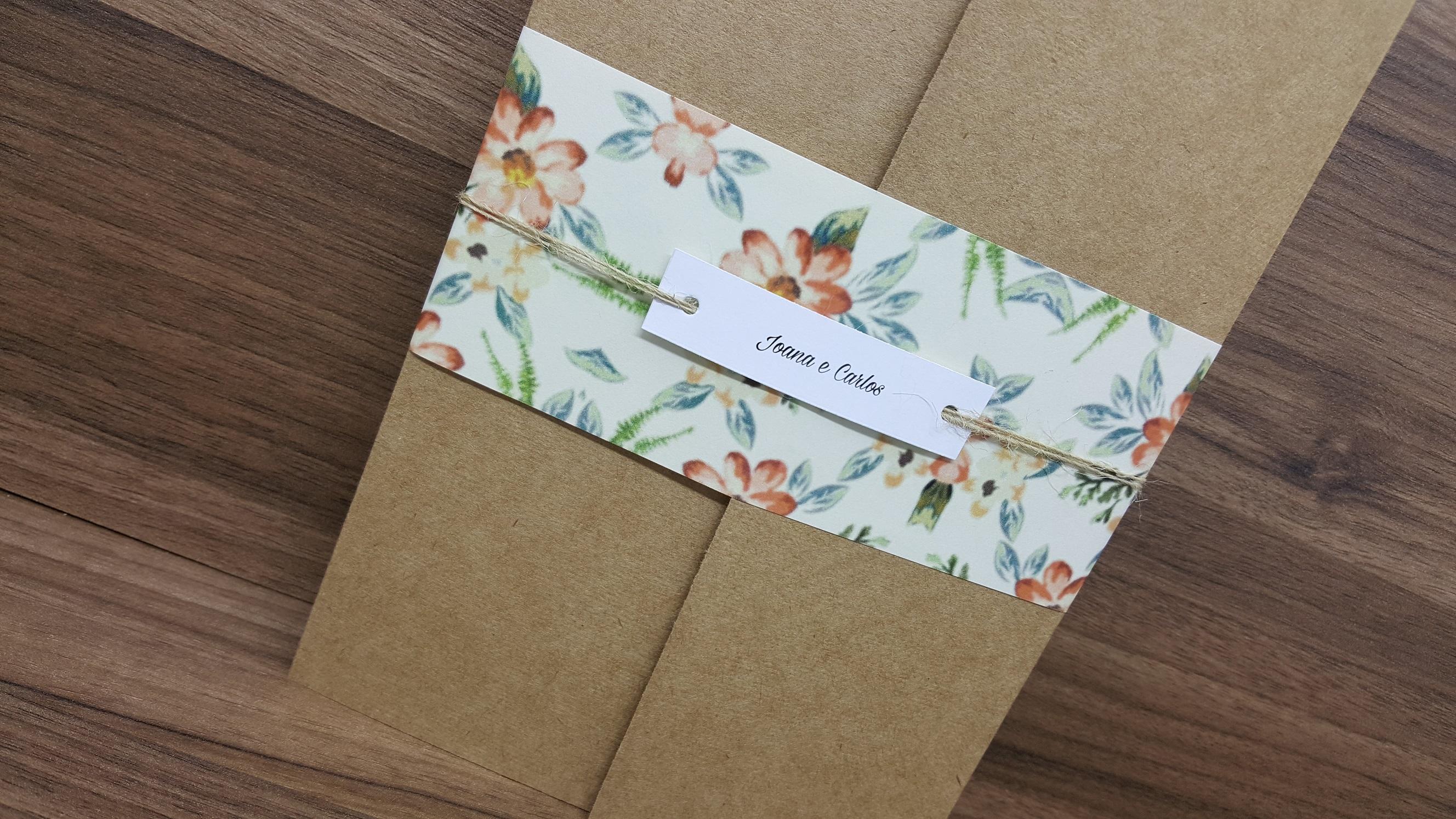 Convite Para Casamento Kraft Floral No Elo7 Convite De Casamento