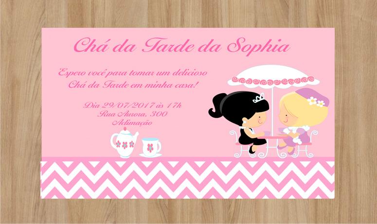 Super Convite Chá da Tarde 10x7cm no Elo7 | Criarteshop (A10514) EX92