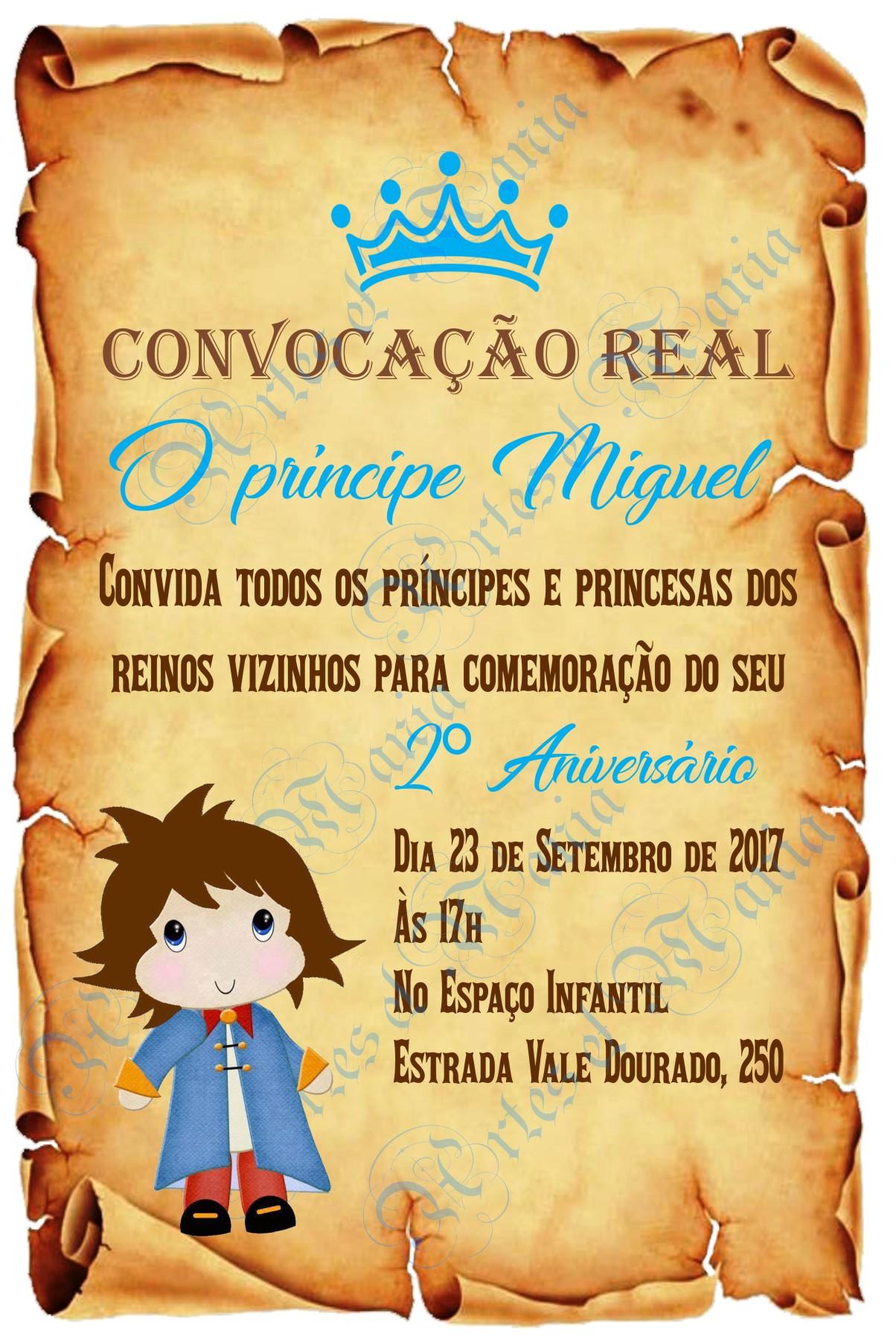 Arte Convite Pergaminho P. Príncipe 03 no Elo7 | Artes & Mania (A196F9)