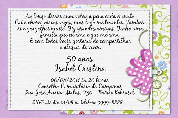 Convite Digital 50 Anos Feminino No Elo7 Web Com Arte A1c7bd