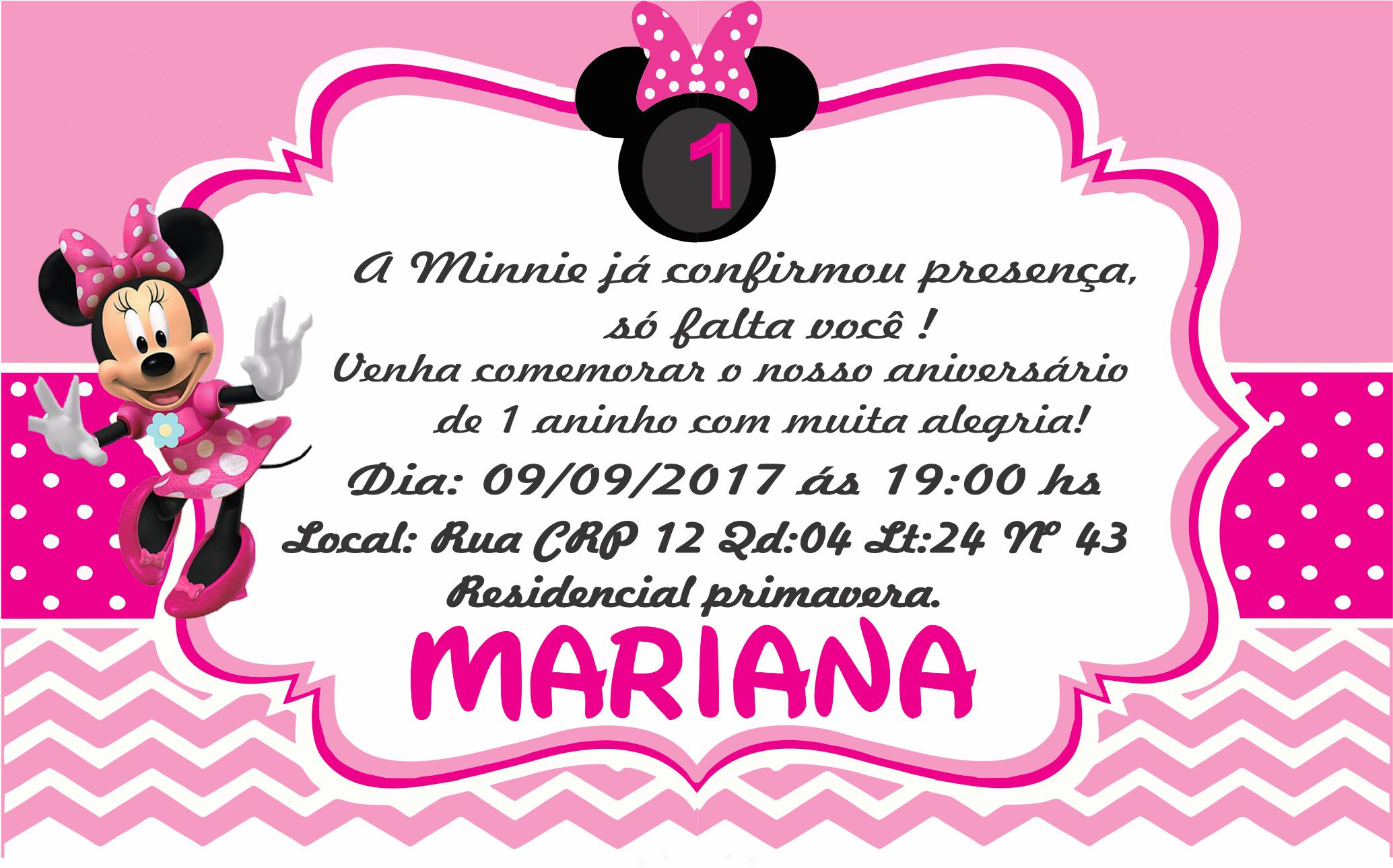 Convite Aniversário Minnie Elo7