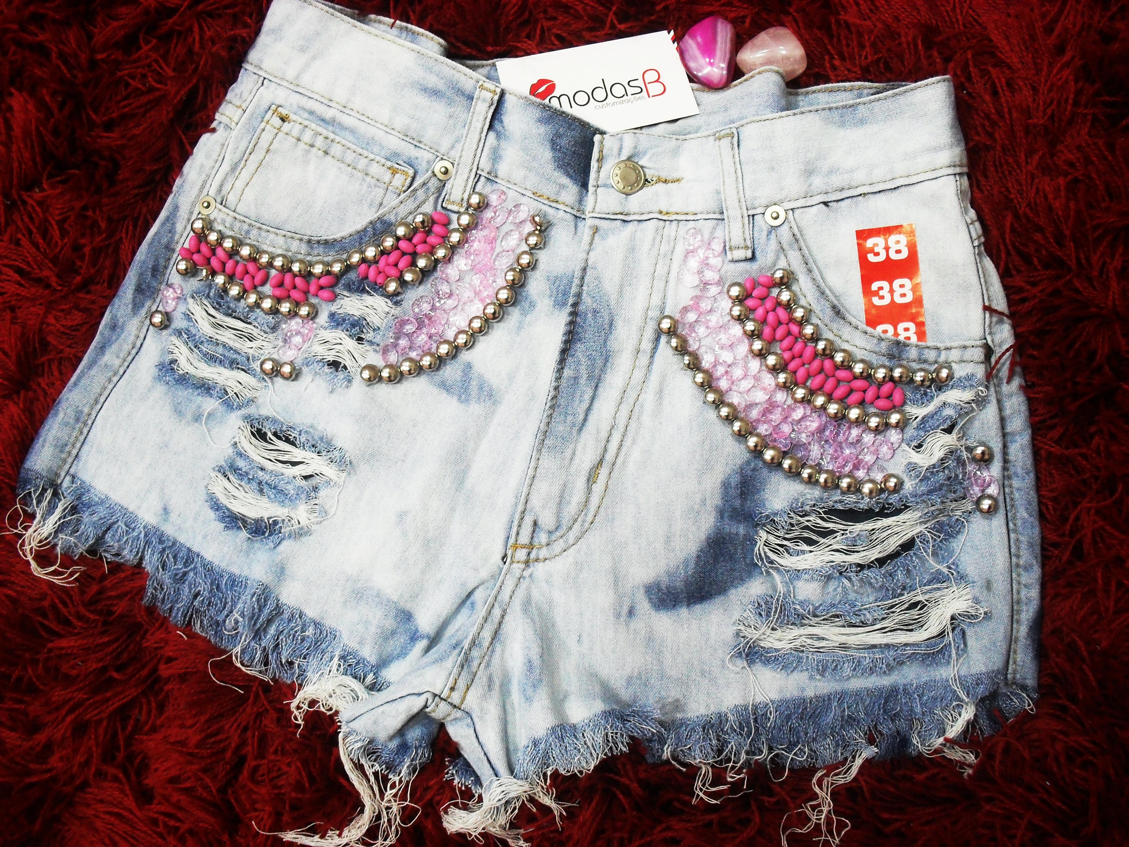 5b1e80a351 Short Jeans Customizado Azul Strech